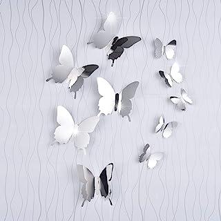 36 Piezas de Mariposas de Espejo DIY Combinación 3D Espejo