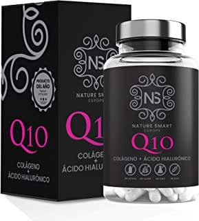 Colágeno + Ácido Hialurónico + Coencima Q10 Nature Smart | Vitamina C | Aporta Firmeza | Piel Radiante | 90 Cápsulas | Al...