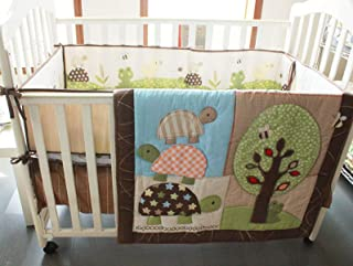 4 PCs Nursery Crib Bedding Set Turtle Duck Frog Baby Bedding Set with Bumpers for Baby Boy