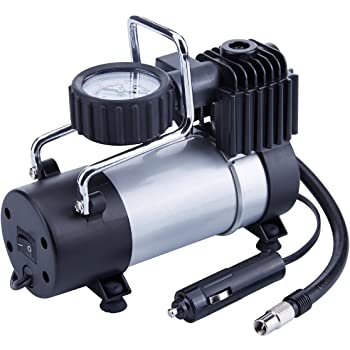 TIREWELL TW1001 Tyre Inflator (150PSI, 12V, 28L/min) Direct Drive Metal Pump Portable Air Compressor with Battery Clamp for Cars/Motorbikes/Bicycles/Balls