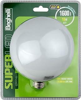 BEGHELLI SuperLED Globo Bombilla LED (E27, 16W, luz fría, 6500° K Blanca