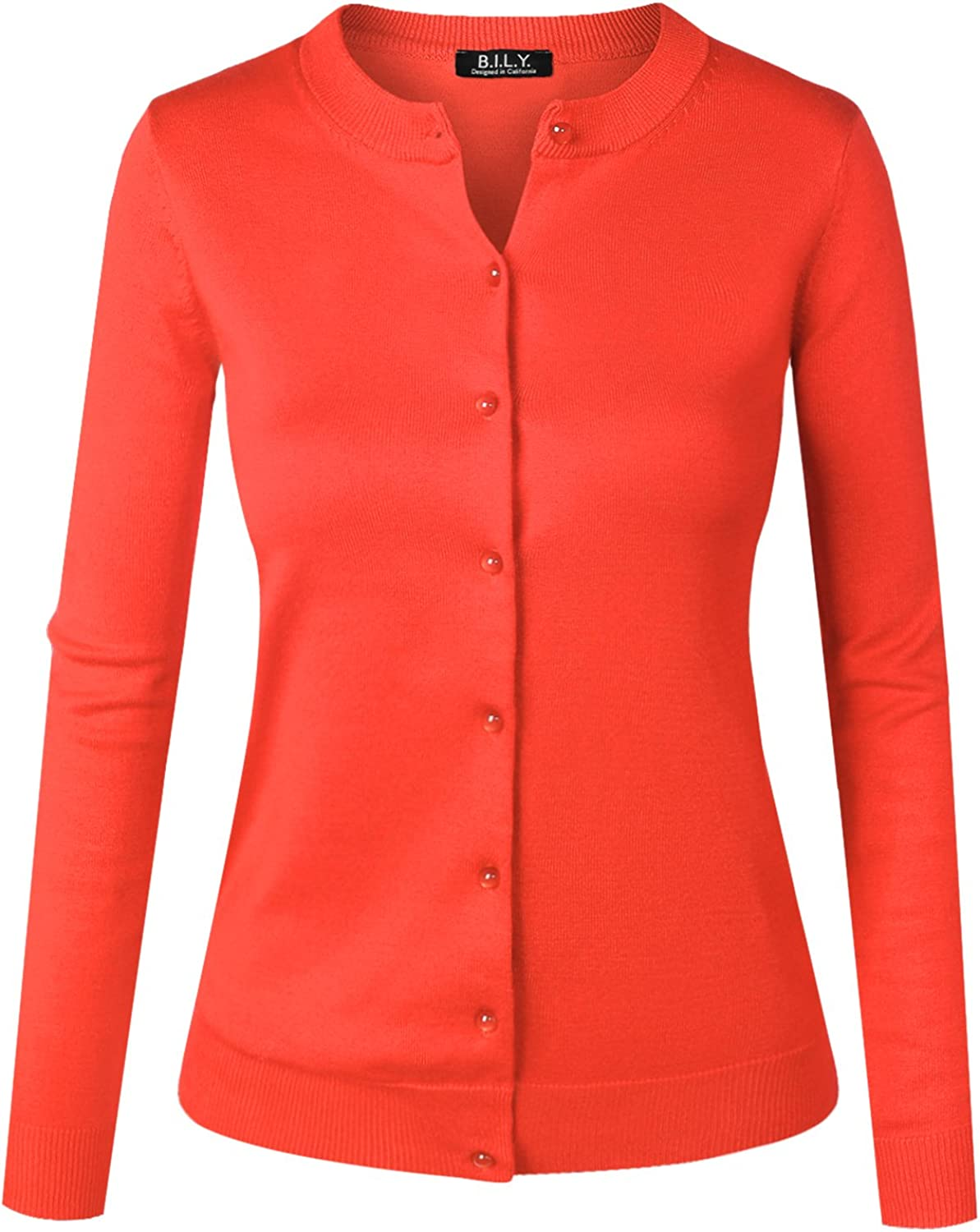 BH B.I.L.Y USA Women's Unique Button Long Sleeve Soft Knit Cardigan Sweater Coral2 1XLarge