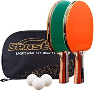 Senston Palas Ping Pong, Pelotas Ping Pong Set, 2 Raquetas de Tenis de Mesa + 3 Pelotas + 1 Bolsa,el Entrenamiento/Kit de Raqueta recreativa
