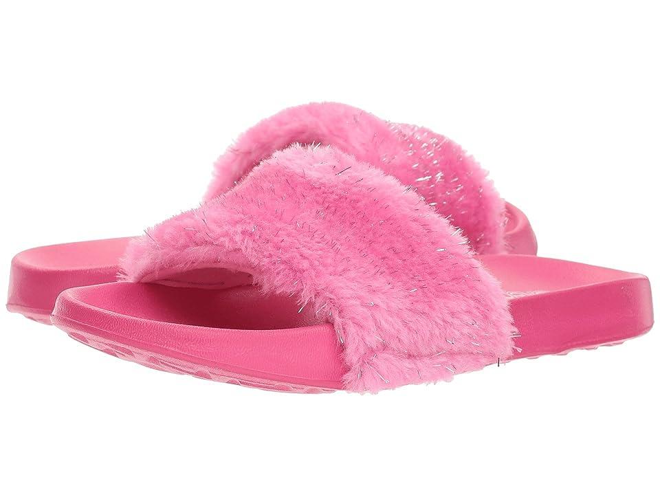 SKECHERS KIDS Sunny Slides Furry Brights (Little Kid/Big Kid) (Hot Pink) Girls Shoes