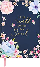 C.R. Gibson Dark Blue Floral ''It Is Well With My Soul'' Hardcover Journal Notebook for Women, 6'' W x 8.5'' L, 160 Pages