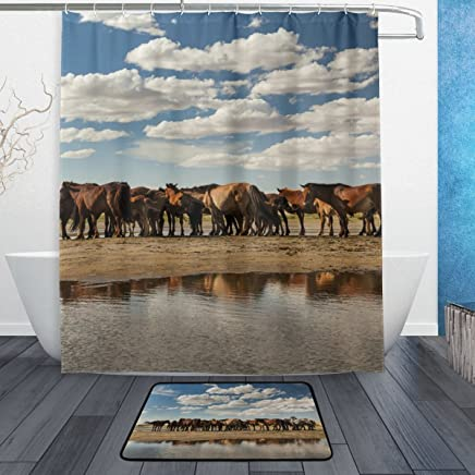 Mydaily Herd of Horses Cloudy Sky Shower Curtain 60 x 72 inch with Bath Mat Rug & Hooks, Mildew Resistant & Waterproof Polyester Decoration Bathroom Curtain Set
