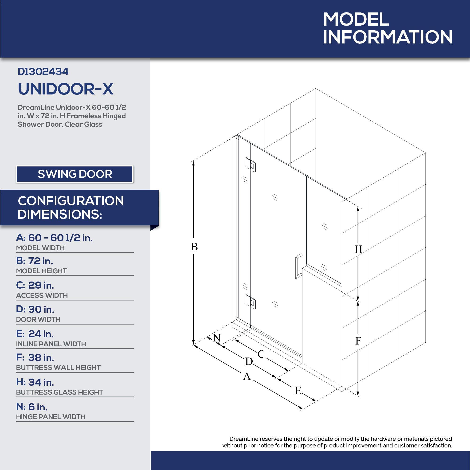 DreamLine unidoor-x con bisagras para mampara de ducha: Amazon.es ...