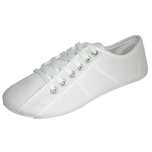 f740f0e84756b White Plimsolls Women: Amazon.co.uk