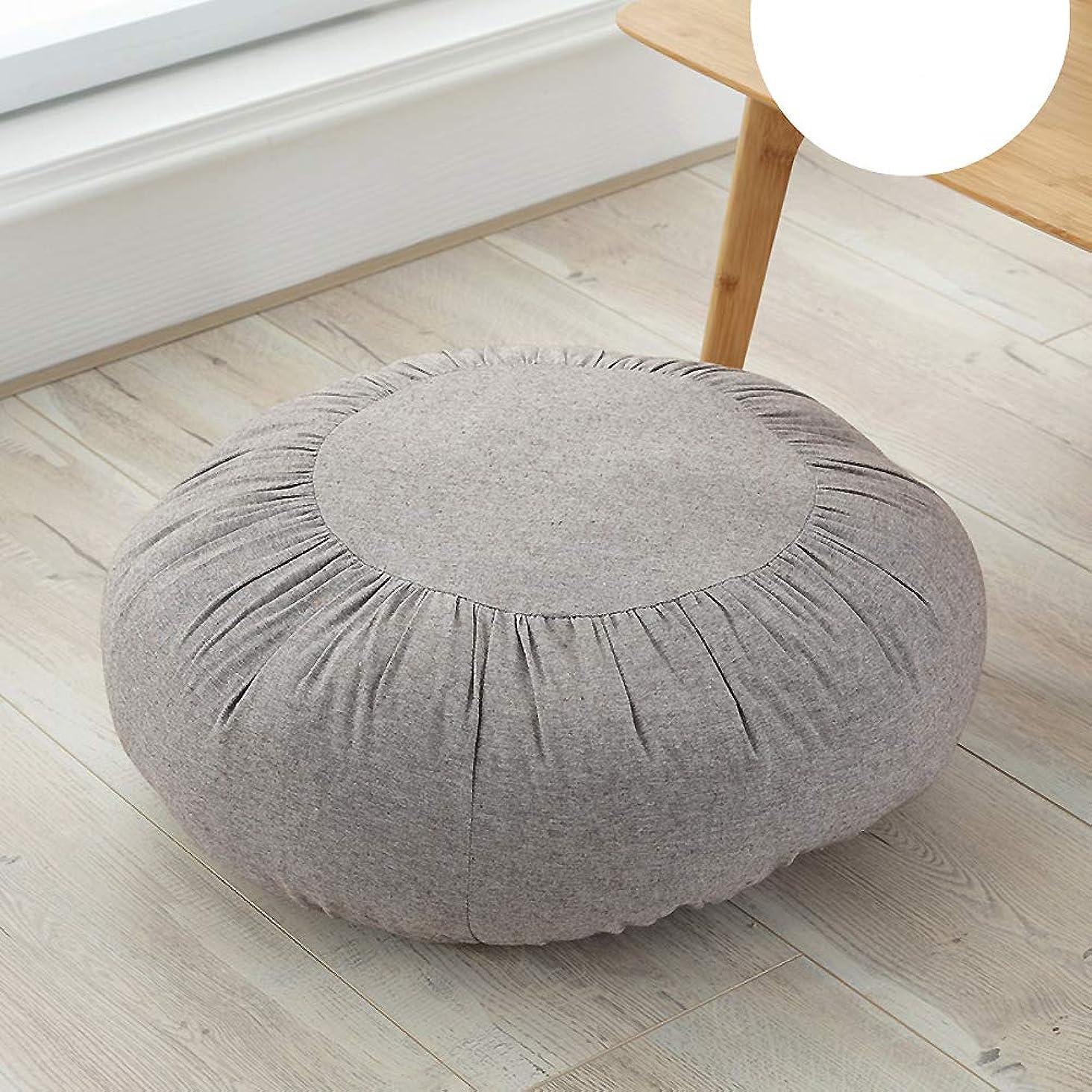 そこ音声拍手する特大 厚く 床枕, 単色 綿 パッド イス用シートクッション ノンスリップ ベイウィンドウ 座布団 ソフト マット布団 屋内 屋外-ブラウン 直径47cm
