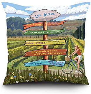 Lantern Press Cranberry Scoop, Los Altos, California - Destination Signpost (20x20 Spun Polyester Pillow, Square)