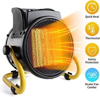 PROWARM Ceramic Air Fan Heating Tip Electric Space Heater with Thermostat Adjustable Modes Overheat Protection Oscillating Home Office Use 20/750/1500W,Portable, Small, Yellow