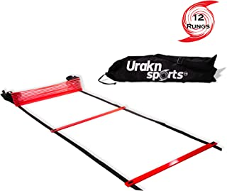 Red Agility Speed Ladder 12 Rungs 20 Ft Long with Carry Bag for Training, Fitness, Soccer Equipment, Obstacle Exercise, Footwork Workout Drill Urakn Sports (Agility Ladder)