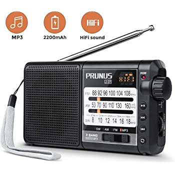 PRUNUS J-01 Transistor Radio Battery Operated AM FM Radio - Excellent Reception, 2200mAh Rechargeable Battery, TF Card MP3 Player