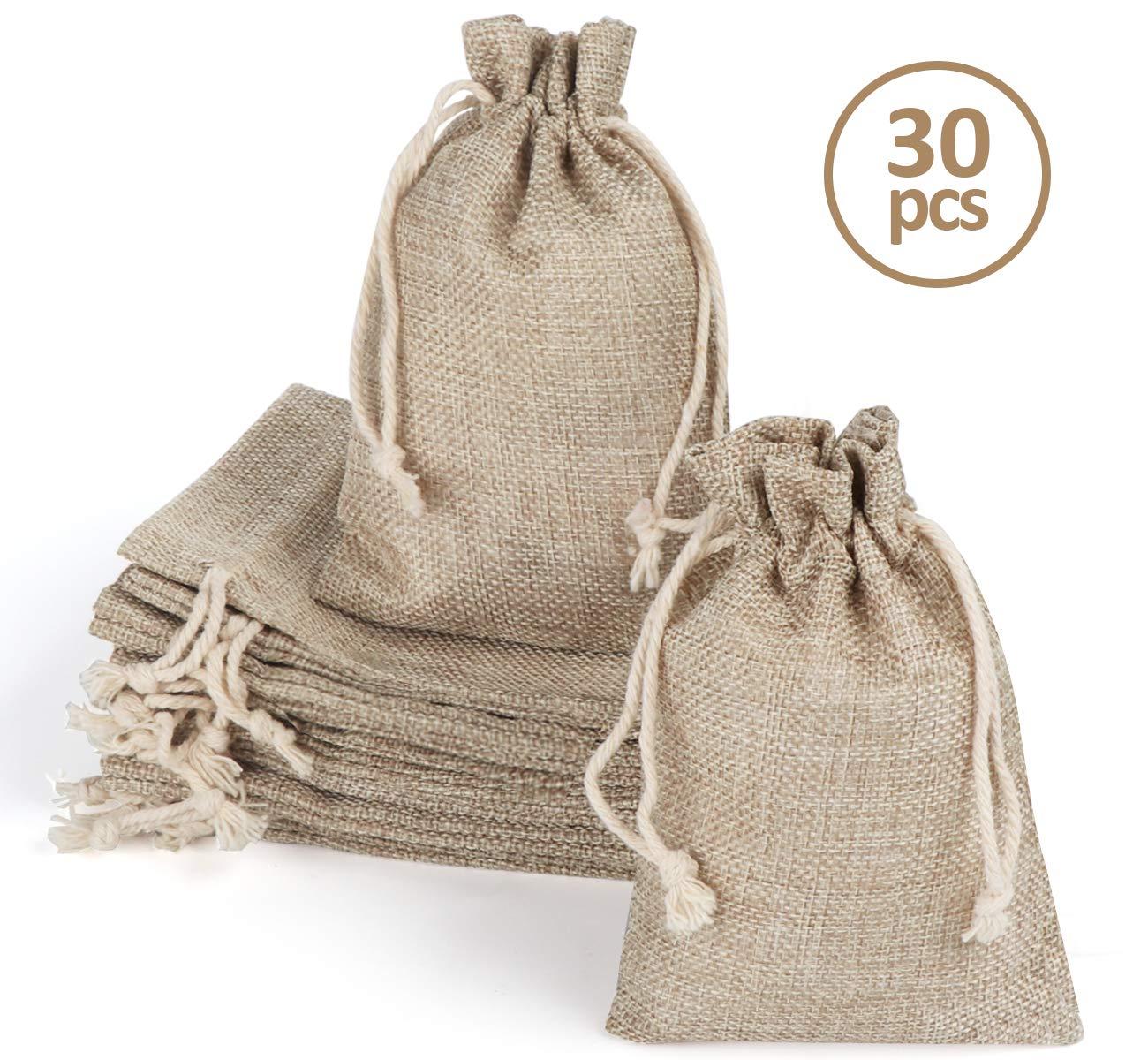 Homewit Bolsa pequeña de algodón con cordón, 30 unidades de sacos de yute de 10 x