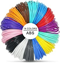 3D Pen Filament Doodler Refills - 14 Colors, 32.5 Feet Each VICTORSTAR 3D Printing Pen Filament ABS 1.75mm Total 460 Feet, 2 Glowing in the Dark Included, Free 200 Stencils Ebook