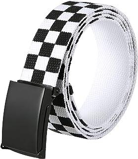 HDE Checkered Belt for Boys Men Black Flip Top Buckle Military Canvas Web Belts