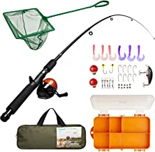 Lanaak Kids Fishing Pole and Tackle Box – with Net, Travel Bag, Reel and..