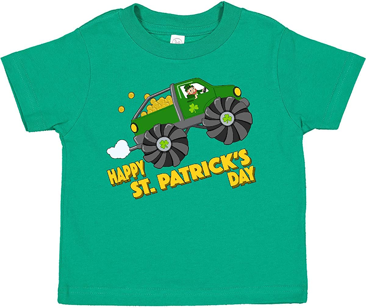 inktastic Happy St. Patrick's Day Monster Truck with Leprechaun Toddler T-Shirt