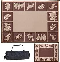 Reversible Mats 229127 9' x 12' Outdoor Patio/RV Camping Wilderness Hunter Mat-(Brown/Beige)