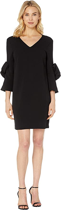 Moss Crepe Shift Dress w/ Bow Detail