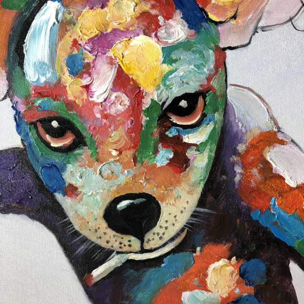 Perro Jugando Billar Pintado a Mano Acrilica Pintura al óleo para Hogar Dormitorio Decoración Pintura Lienzo Pared Arte Cuadro,Withframe,55x55cm: Amazon.es: Hogar