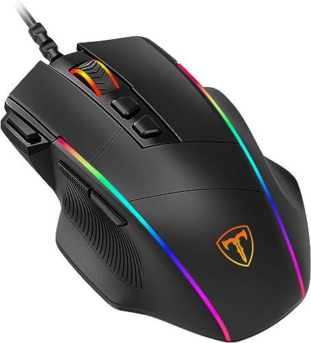 PICTEK Mouse Gaming, Mouse RGB Ergonomico da 8000 DPI (5 livelli), 8 Pulsanti Programmabili, 7 Modalità di Illuminazi...