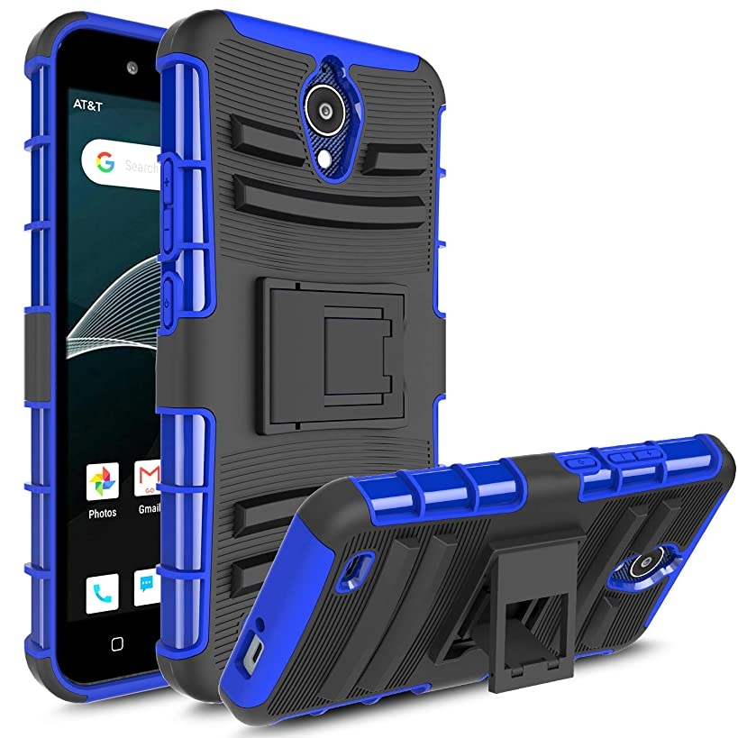 AT&T AXIA QS5509A Case, Androgate [Armor Series] Hybrid Heavy Duty Combo Phone Case Cover with Kickstand for AT&T AXIA (Cricket Vision), Blue