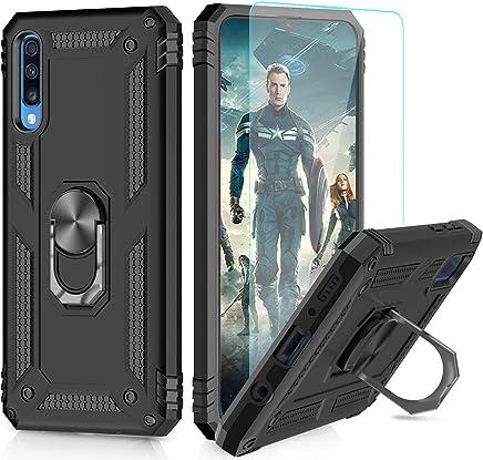 LeYi Funda Samsung Galaxy A70 Armor Carcasa con 360 Anillo iman Soporte Hard PC y Silicona TPU Bumper antigolpes Fundas Carcasas Case para movil Samsung A70 con HD Protector de Pantalla,Negro