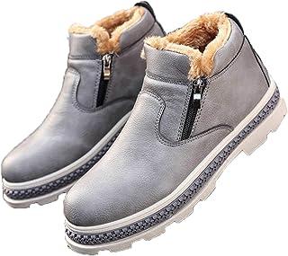 OROSUA Bottes de Neige pour Hommes Chaudes en Peluche à glissière Chaussures en Cuir causales Plate-Forme antidérapante Bo...