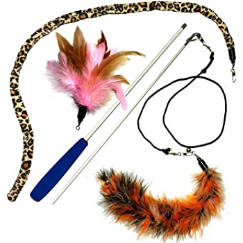 Pet Fit For Life 3 Piece Dual Rod Feather Teaser and Exerciser with a Slithering Snake for Cat and Kitten - Cat Toy Interactive Cat Wand…