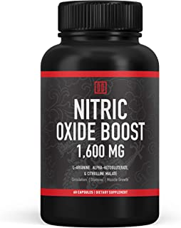 Nitric Oxide Booster Supplement - 1600mg Extra Strength L-Arginine, Citrulline Malate, and Alpha-Ketoglutarate for Muscle ...