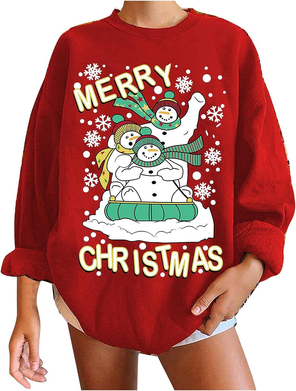 Women's Christmas Fashion Hoodies Casual Printed Sweatshirts Pullover O-Neck Long Sleeve T-Shirts Tops