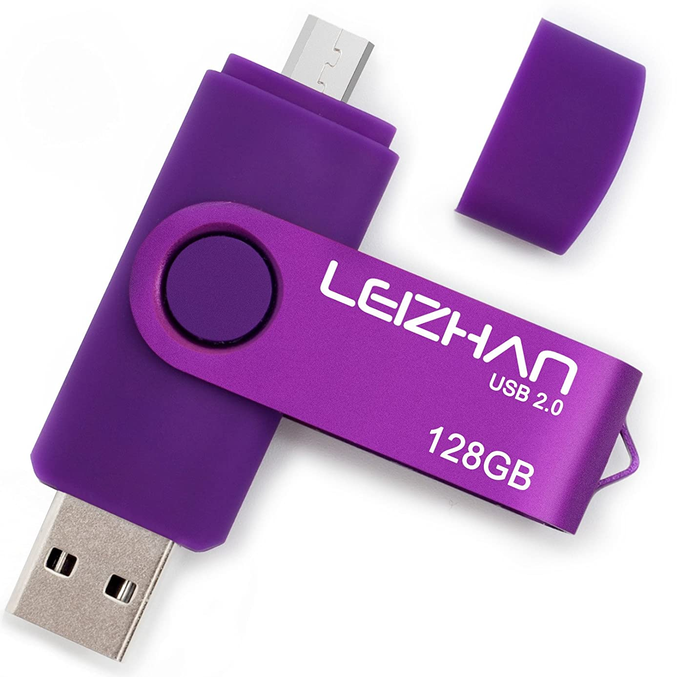LEIZHAN Flash Drive 128GB Micro Pen Drive Purple Android Phone Pendrive USB 2.0 Memory Stick for Samsung Galaxy, Xiaomi,LG,Sony, One-Plus,HTC, Meizu
