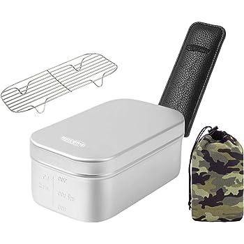 MiliCamp MR-250 Pro メスティン 4in1セット キャンプ 飯ごう バリ取り済 光沢のある外観の高級感 アウトドア 自宅炊飯 防災対策 絞り加工 目盛付