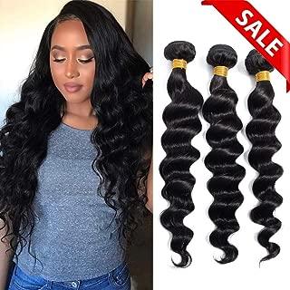 Brazilian Virgin Hair Loose Wave Bundles (10 12 14) Loose Deep Wave Bundles Human Hair Bundles Weave Hair Human Bundles Natural Black Color