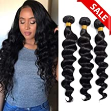 Brazilian Virgin Hair Loose Wave Bundles (10 12 14) Loose Deep Wave Bundles Human Hair Bundles Weave Hair Human Bundles Natural Black Color