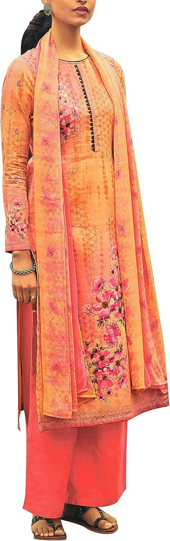 Lawn Cotton Gorgeous Printed Salwar Kameez Suit with Palazzo Pants Pure Chiffon Dupatta