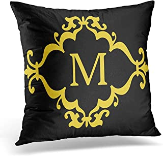 Lfff Funda de Almohada Negra Inicial Amarilla Desplazamiento Personalizado Carta Personalizada Funda de Almohada Decorativa decoración del hogar Funda de Almohada Cuadrada