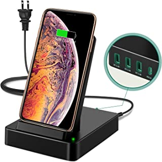 Wireless Charger Stand Station, 50W 5 in 1 with 3 USB-A & 20W USB-C Ports Fast Charging Dock, 15W Wireless Charger Compatible iPhone 11 Pro Max/Xs Max/XR/8, Airpods pro, Samsung Galaxy Note 10/S10/S9