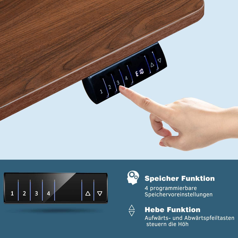 Beige JUMMICO Computertisch mit Elektrischer H/öhenverstellung Schreibtisch Studiertisch