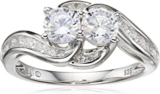 Sterling Silver Cubic Zirconia Two-Stone Intertwined Ring, Size 7