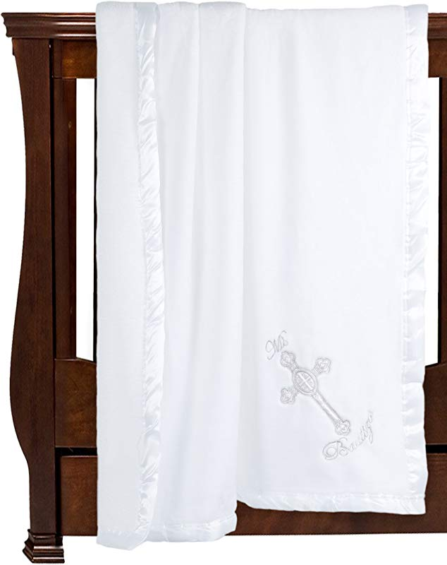 Solaron Silky Soft Microfiber Baptism Christening Baby Blanket Gift Baptismal Baby Blanket 41 X 36 Sacred Cross