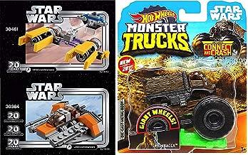 Hot Wheels Pod Speed Monster Crash Chewbacca Truck Jam Pack Bundled with Buildable Snowracer vs Podracer Mini Ships 3 Items