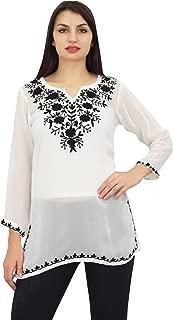 Phagun Women's Designer Aari Work Top Indian Long Sleeves Tunic Blouse
