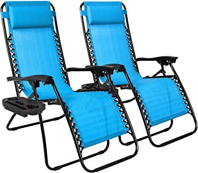 HMhome Set of 2 Adjustable Zero Gravity Lounge Chair Recliners w/Cup Holders, Sky Outdoor Blue