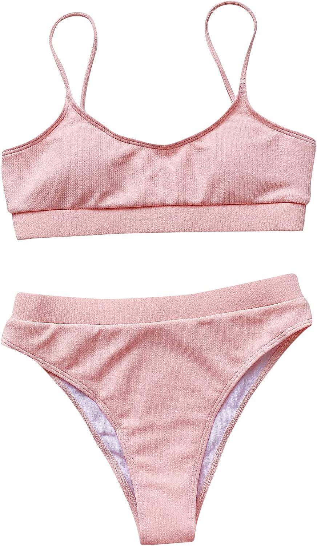 Milumia Women's Two Pieces Bikini Set Scoop Neck Ribbed Knit Hig