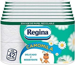 Regina Camomila Papel Higiénico | 42 rollos | 3 capas, 150 servicios por rollo | Perfumado con aroma a camomila | Envase d...
