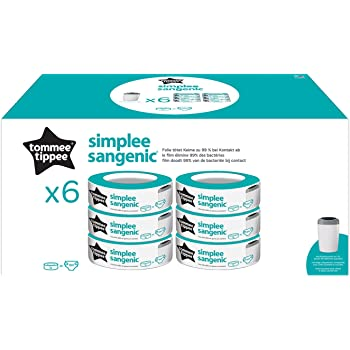 Tommee Tippee Simplee Sangenic Ricarica x 6, solo per contenitori Simplee Sangenic, fino a 180 pannolini
