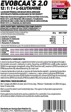 EVOBCAAS 2.0 (BCAAS 12:1:1 + GLUTAMINA) (Ponche de Frutas, 500 gr)
