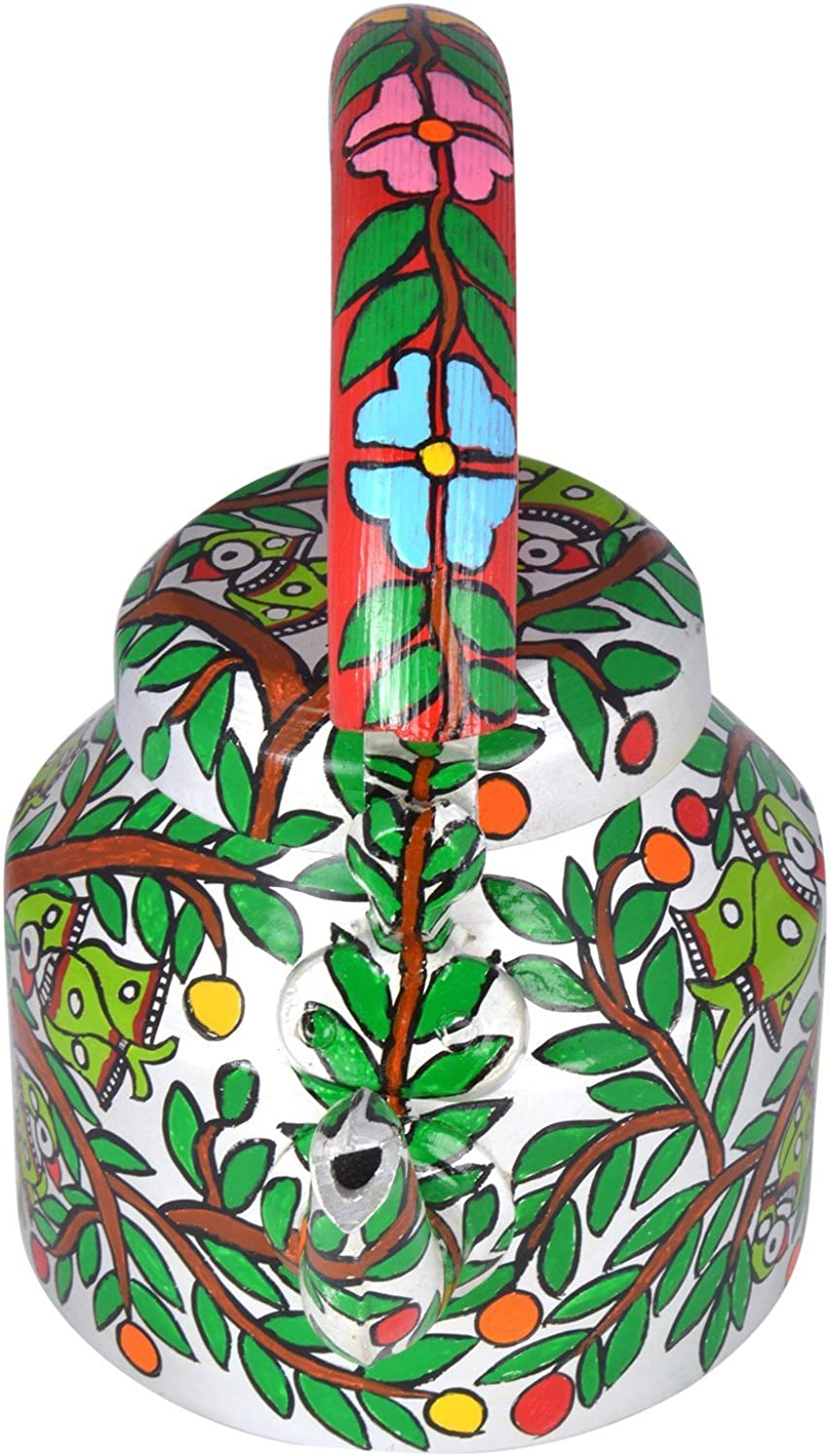 Hand Painted Steel Tea Kettle Parreds On The Tree